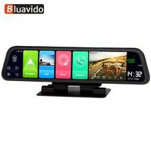 """Bluavido espelho de vídeo para carro, espelho de vídeo de 12 """"ips dvr gps 2g ram 4g lte android 8.1 com gravador e navegação câmera retrovisor hd 1080p"""