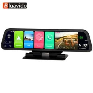 """Image 1 - Bluavido espelho de vídeo para carro, espelho de vídeo de 12 """"ips dvr gps 2g ram 4g lte android 8.1 com gravador e navegação câmera retrovisor hd 1080p"""