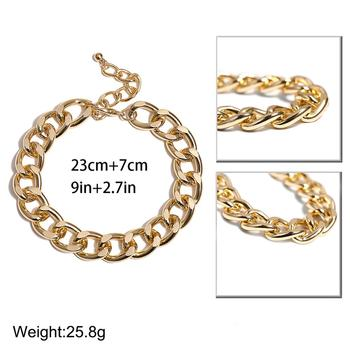 Lacteo Punk Thick Chunky Chain Anklet for Women Statment Fashion Anklet Hip Hop Golden Cross Chain Charm Anklet Female Jewelry 5
