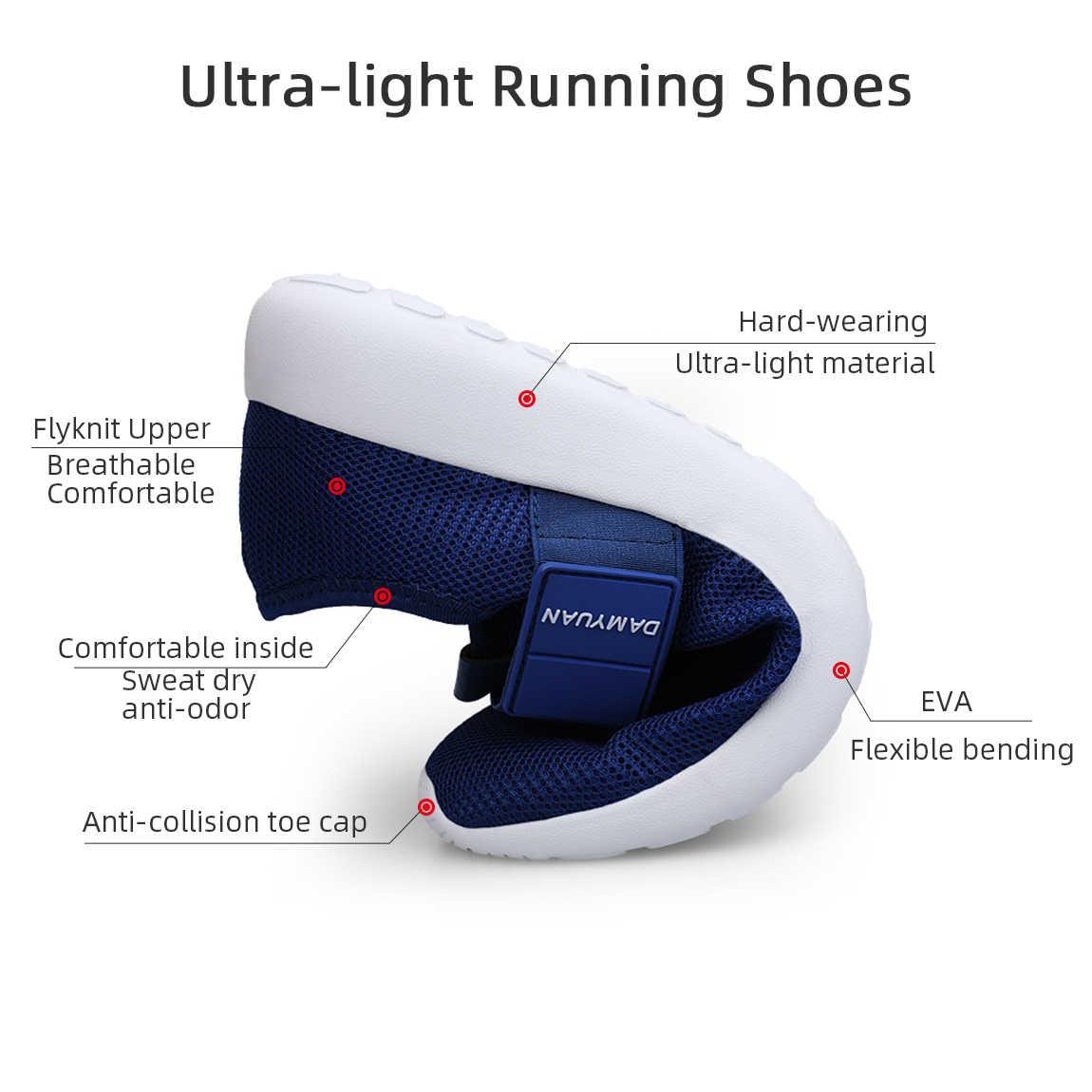 2019 gündelik erkek ayakkabısı örgü hafif nefes spor koşu ayakkabıları moda rahat yürüyüş ayakkabısı adam Flats ayakkabı