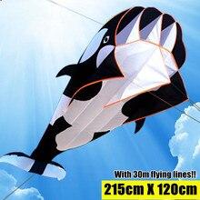 215cm 3D Blue Kite Outdoor Sport Dolphins Flying Kites Toys Huge Dolphin Kite Soft Easy to Fly Sport Kite