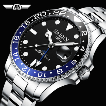 HAIQIN Men's/mens Watches Top brand luxury Automatic men watch mechanical wristwatch men GMT waterproof 41MM 2020 Reloj hombres haiqin men s mens watches top brand luxury watch men mechanical military waterproof wristwatch mens tourbillon reloj hombre 2019