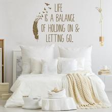 Inspirational Wall Decal Life Is A Balance Holding On Letting Go- Birds Of A Feather Wall Decal Quote Vinyl Home Decoration Z239 small birds of a feather notebook