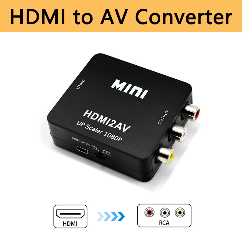 HDMI To AV Video Converter Hdmi2av 3RCA CVBS Adapter Composite Converter Box HD 1080P Support NTSC PAL Output For Old TV