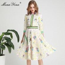 MoaaYina الأزياء مصمم المدرج اللباس الربيع الصيف المرأة اللباس بدوره إلى أسفل طوق الكريستال طباعة مطوي فساتين