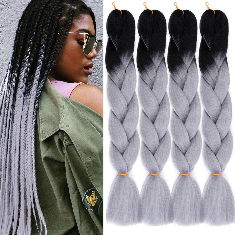 MODERN QUEEN 24 inch Long Ombre Braiding Hair Jumbo Braid Crochet Hair 100g 24inch Synthetic Hair Extensions Jumbo Braids Hair