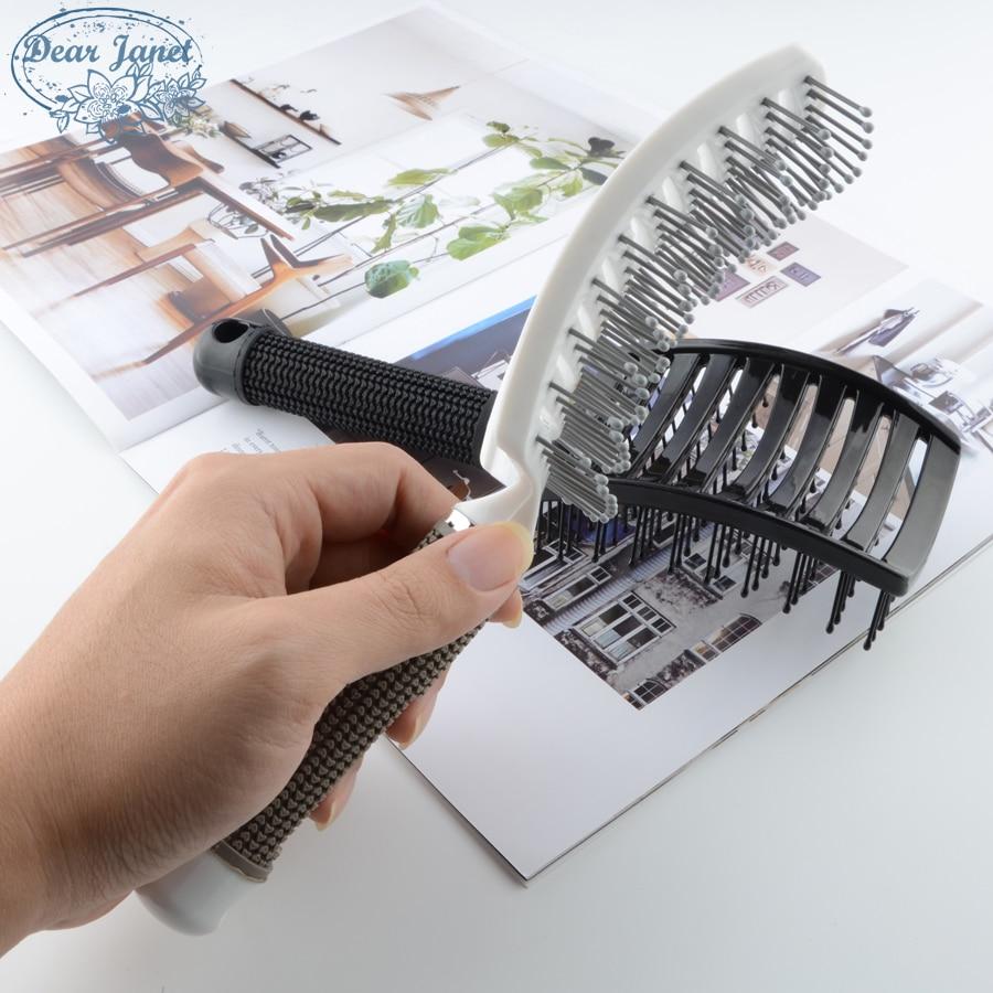 1pc Black/White Detangling Hair Brush Handle Curved Tangle Comb Pompadour Shower Massage Scalp Comb Salon Hairdressing