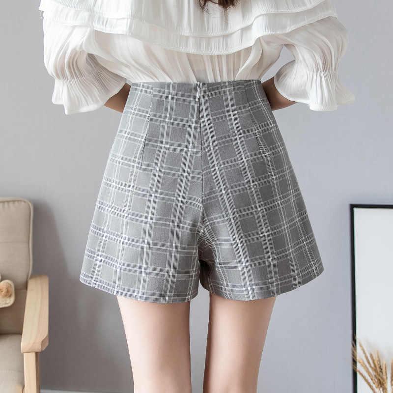 S-2xl Fashion Pockets High Waist Plaid Shorts Women 2019 Autumn Summer Slim Chiffon Shorts Female Casual Short Women