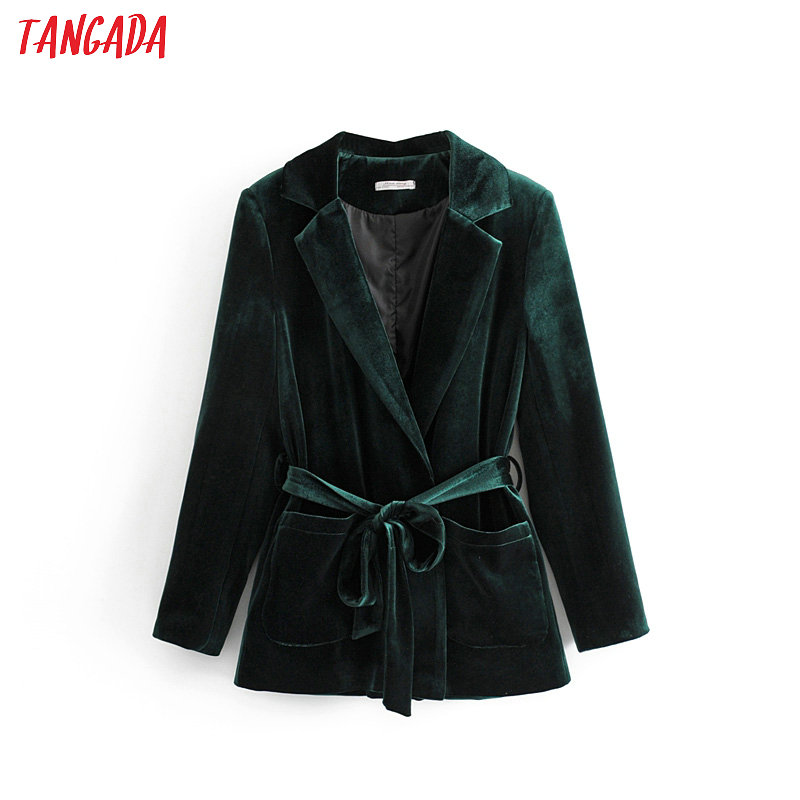 Tangada Women Fashion Green Velvet Blazer With Belt 2019 Atumn Winter Lady Causal Blazer Suit Outwear  DA42
