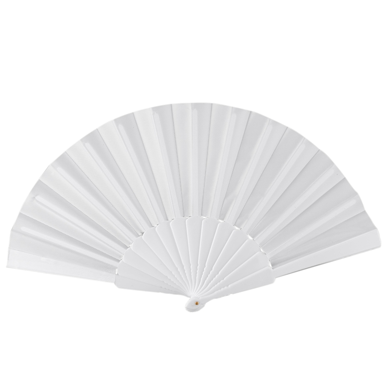 Practical Boutique Plastic Fabric Hand Foldable Fan For Ladies Men White
