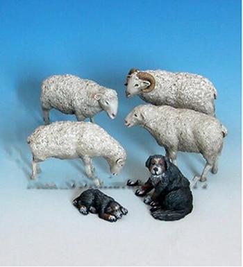 1/35 Modern Animal Set Sheeps & Sheepdogs   Toy Resin Model Miniature Kit Unassembly Unpainted
