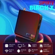 Supertv Black X TV Box 2G 16G Amlogic S905D Bluetooth4.2 Desfrute de áudio Pravite Android ISDBT TV Box Scan Canais Globo Locais Gratuitos Suporte Super Partner e Super Chat