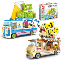 New Legoing City Street Sale Car Hot Dog Ice Cream Selling Car Building Blocks Bricks DIY Educational Kids Toys with Figures