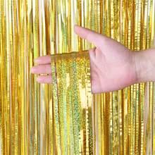Fiesta telón de fondo flecos metalizados papel de plata brillo de fondo de la fiesta de cumpleaños de la boda de la decoración de la pared de la zona como telón de fondo