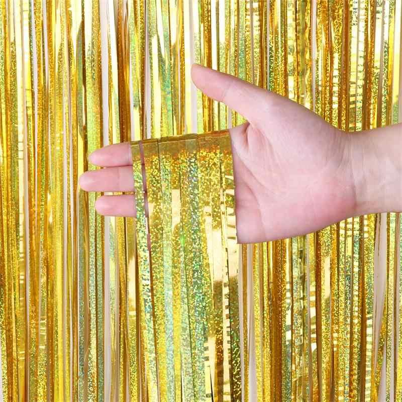 Rideau d'arrière-plan en feuille d'aluminium métallique, scintillant à franges, décoration murale pour fête d'anniversaire et mariage, arrière-plan pour Photo