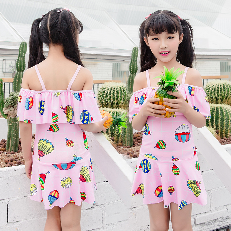 One-piece Swimsuit For Children GIRL'S Cute Cartoon Printed Comfortable Briefs Skirt Swimming Suit Wholesale NT109816