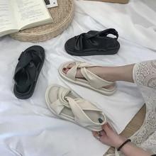 Projektant Harajuku Chunky kobiety sandały moda skórzany pasek krzyżowy buty na koturnie buty damskie lato plaża Punk Gothic mieszkania tanie tanio LEOSOXS SYNTETYCZNE CN (pochodzenie) Med (3 cm-5 cm) Na co dzień podstawowe Płaskie z Otwarta Wsuwane Dobrze pasuje do rozmiaru wybierz swój normalny rozmiar