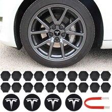 Колпачки для центрального колпачка колеса Tesla, алюминиевая модель 3/ S/ X, колпачок с винтом, комплект логотипа, декоративная колпачок для шин, ...