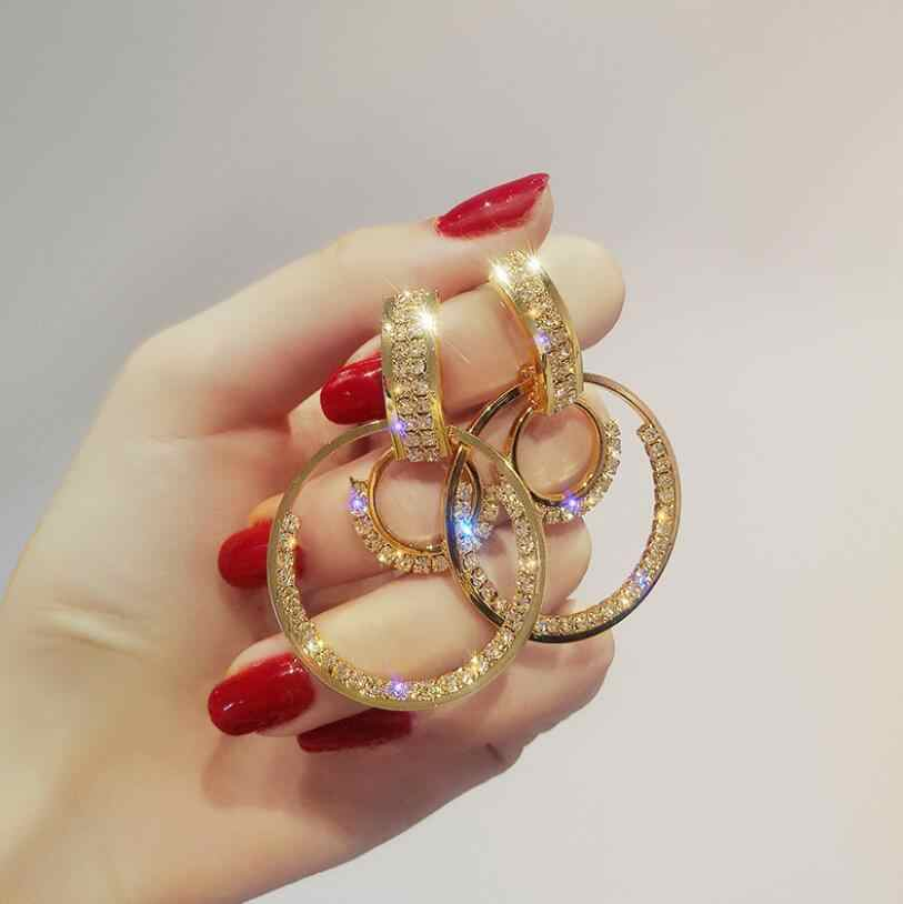 חדש עיצוב אופנה תליית עגילי גיאומטרי עגול מבריק ריינסטון עגילי נשים תכשיטים סיטונאי