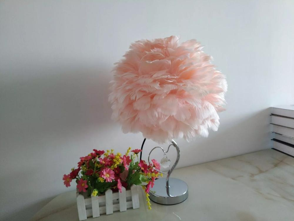 Feather Lamps hot-selling Romantic decorative table Lamps goose feather  lights for living-room decoration bedroom lights
