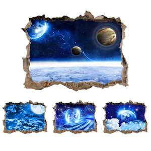 3D Star Universe series Broken wall stickers for Kids Rooms Living Room Bedroom Decor Space Galaxy Planets Wall Sticker