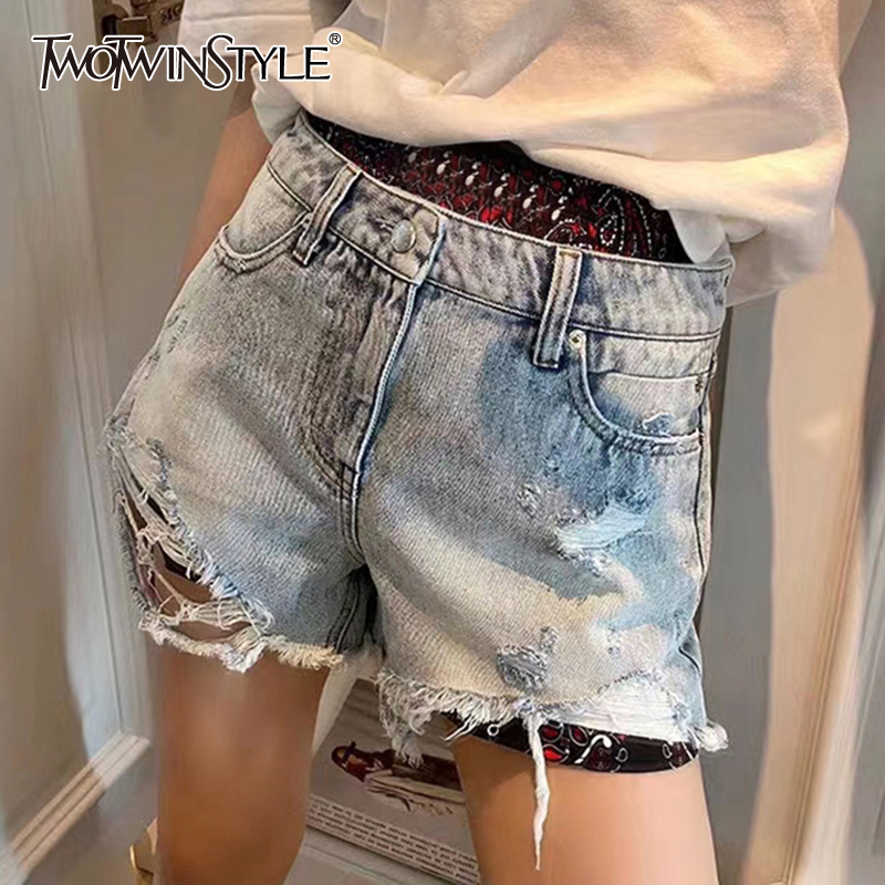 TWOTWINSTYLE Casual Patchwork Print Women Shorts High Waist Vintage Ripped Hole Tassel Asymmetrical Short Pants For Female Tide