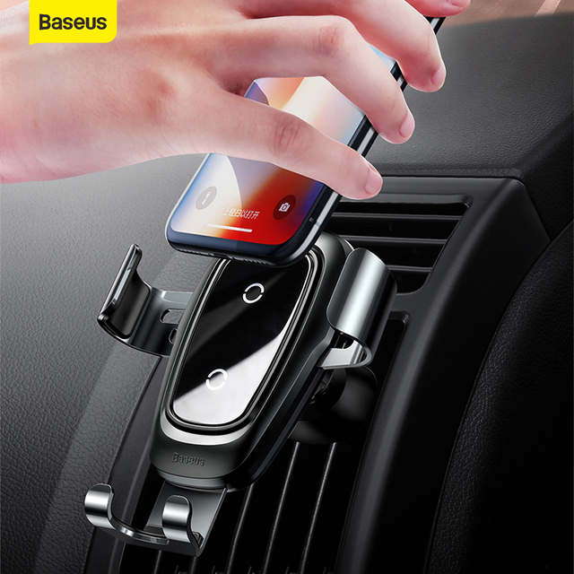Baseus Qi Wireless Charger Car Phone Holder For iPhone Samsung Huawei Air Vent Mount Phone Car Holder Stand Bracket Car Accesori