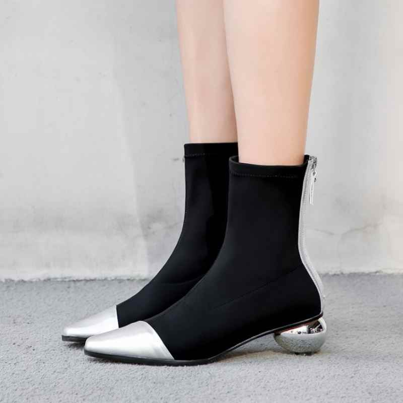 Haoshen & Mädchen Echtem Leder Schuhe Frauen Socke Stiefel Ankle Spitz Ei Mit Hohen Absätzen Schuhe Herbst Winter Zipper Stretch Booties