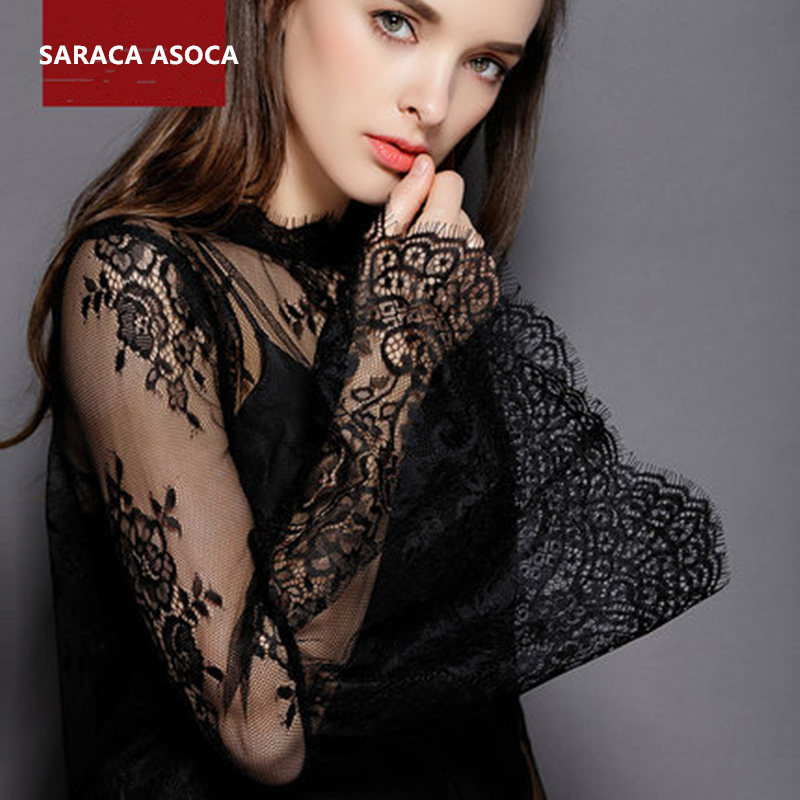 Bell Sleeve Lace Perspective Black Long Detachable Collars Shawl Women All Match Lace Sweater Faek Collar Smock Lady LS-3