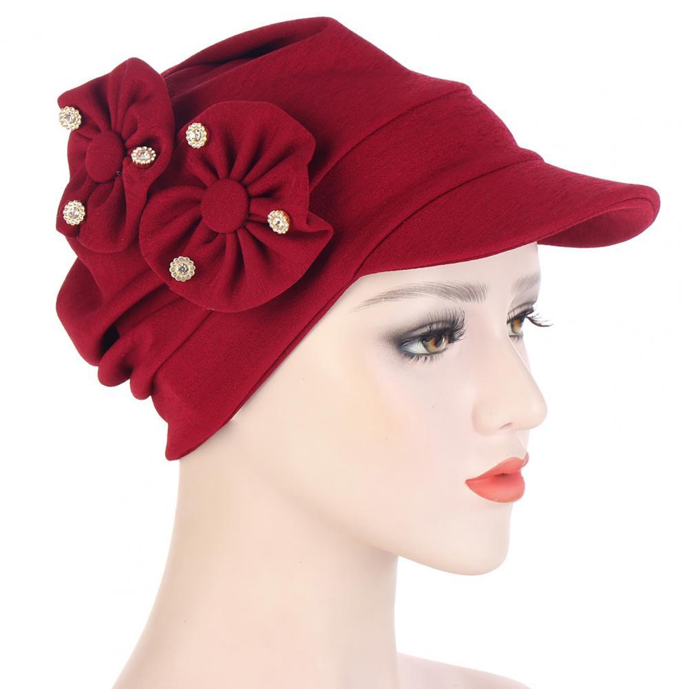 Head Cap Muslim-Stretch Cap Elastic Breathable Polyester Women Headwear Flowers Cap for Holiday Women's Hats Spring Summer Hat