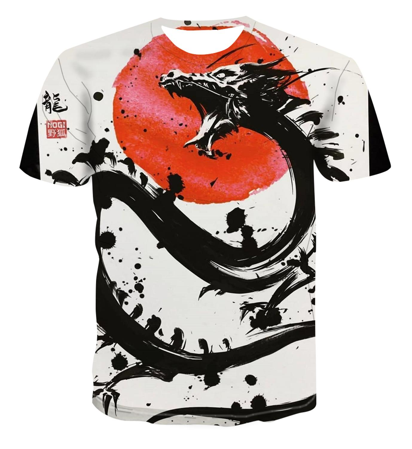 2020 Popular New Chinese Pattern 3D Printing Personalized Dragon T-shirt Casual And Versatile Men's Round Neck T-shirt S-6xl