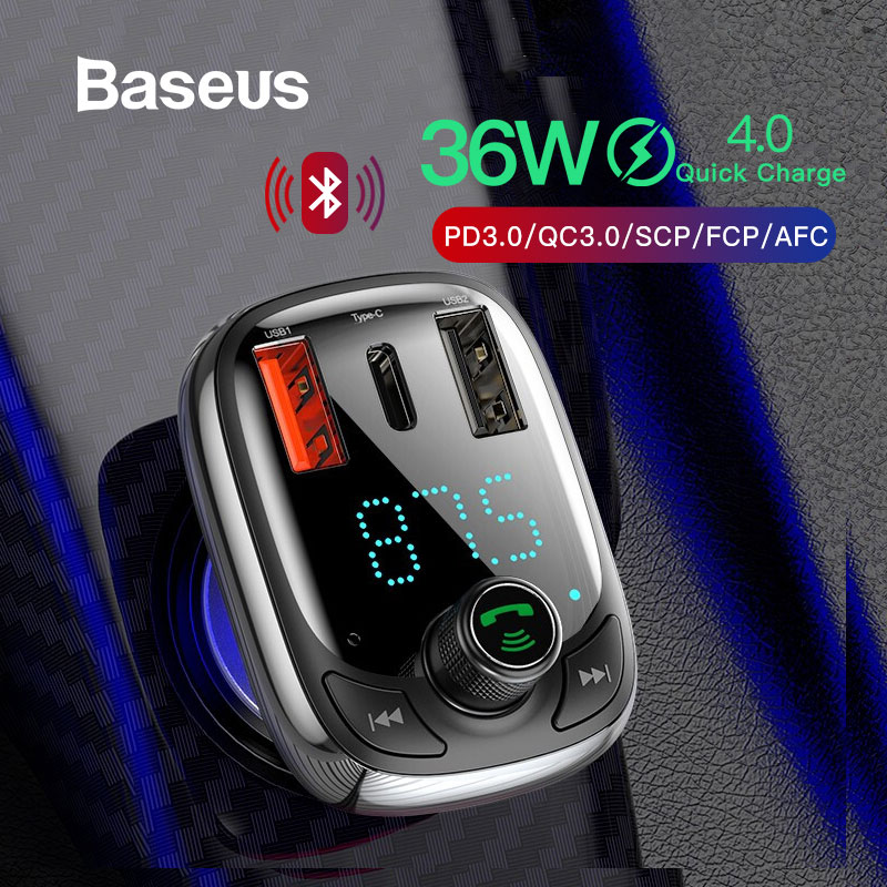 Baseus Quick Charge 4.0 Car Charger with FM Transmitter Bluetooth Handsfree FM Modulator PD 3.0 Fast USB Car Charger For iPhone-in Car Chargers from Cellphones & Telecommunications on