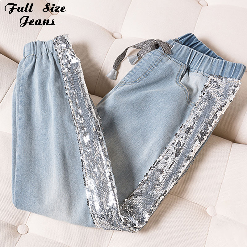 Plus Size Side Sequins Ankle Length Jogger Jeans 3Xl 4Xl Spring Summer Chi Lady Light Blue Elastic Waist Capris Jean Denim Pants