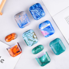 For AirPods 2 Case Luxury Colorful marble stone Hard 3D Pattern Earphone Case for Apple Airpods Headphone Case Capa Air Pods 2(China)