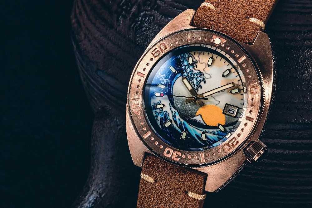 relógio masculino carve bronze caso mostrador luminoso