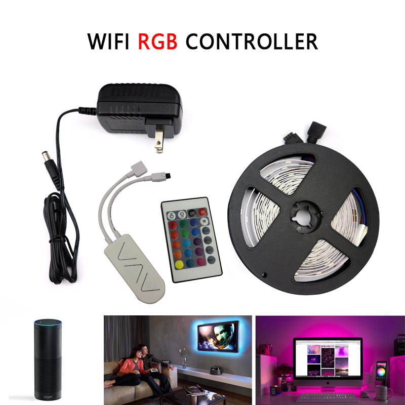 5M SMD5050 RGB LED Strip Light Not Waterproof LED Strip DC 12V Adapter+IR Led Rgb Remote Or WiFi Rgb APP Remote