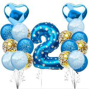 2 Years Birthday Banner Balloons 2nd Birthday Decoration Kids Boy Girl Party Supplies Children's Balloons Balls For Favors S8MZ