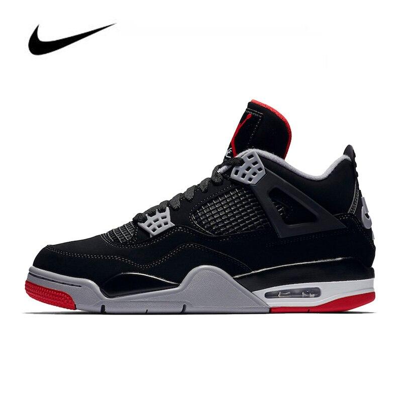 Nike Air Jordan 4 Retro Bred Men's Basketball Shoes Original High Top Jordan Sneakers Basketball Shoes Men Women  308497-06