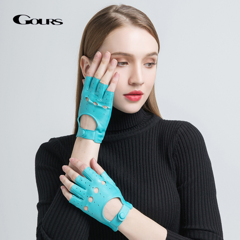 Gours Spring Women's Genuine Leather Gloves Driving Unlined Goatskin Half Finger Gloves Fingerless Gym Fitness Gloves GSL061
