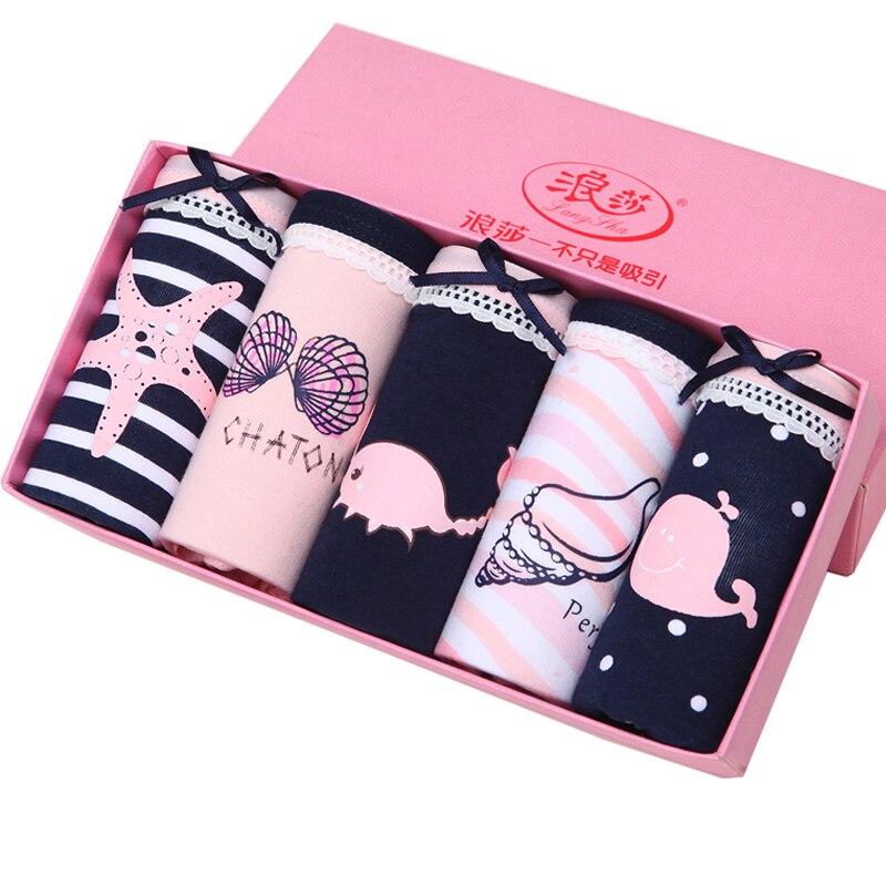 Langsha 5 pçs/lote calcinha feminina de algodão macio meninas bonito impressão íntima plus size xxl briefs senhoras cuecas respiráveis