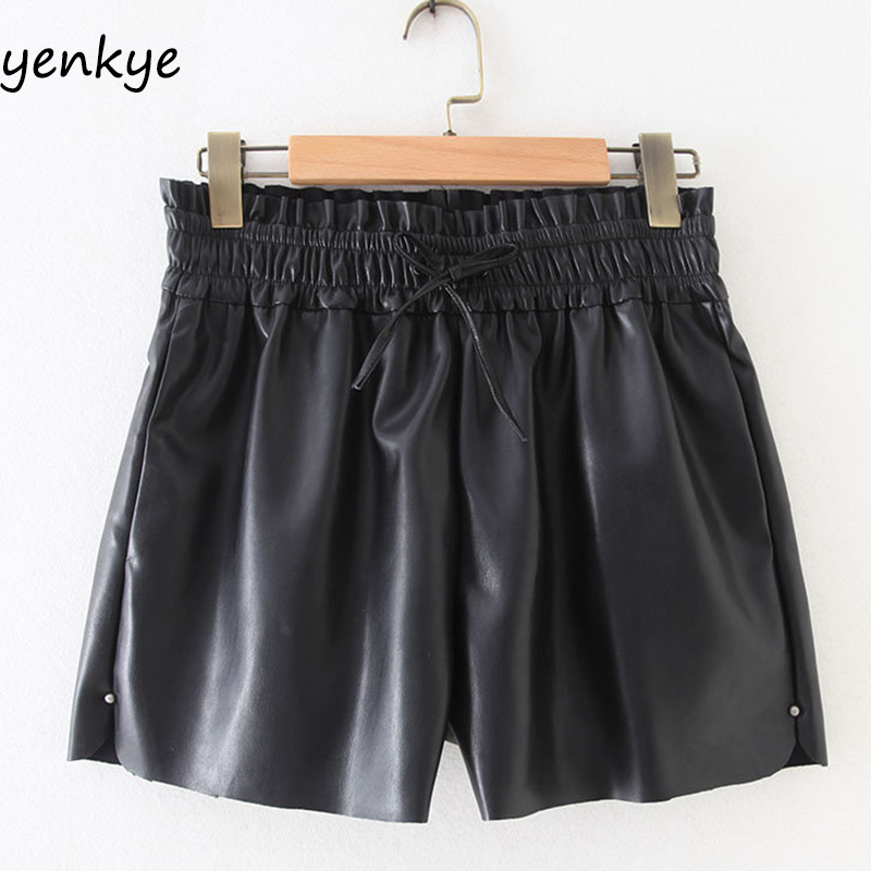 Vintage Black Faux Leather Shorts Women Elastic  Mid-rise Short Mujer Spodenki Damskie  XZWM19158