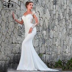 Vintage Meerjungfrau Hochzeit Kleid Scoop-Neck Voll Sleeves Brautkleider Zipper Zurück Spitze Satin Braut Kleid Robe Mariee Dentelle