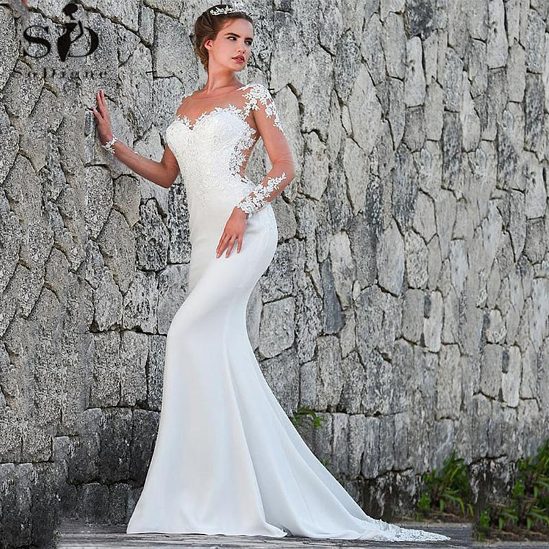 Vintage Mermaid Wedding Dress Scoop-Neck Full Sleeves Wedding Gowns Zipper Back Lace Satin Bride Dress Robe Mariee Dentelle
