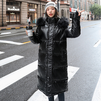 women X-long oversize blue down jackets thick casual with fur epaulet 2020 winter female down coats hooded solid piumini donna