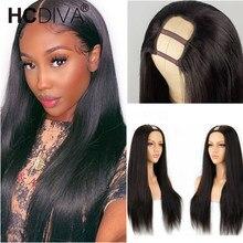 U Part Wig Straight Human Hair Wig For Women Headband Wig 28inch 150% Natural Human Hair Wig Brazilian Remy Human Hair Wigs