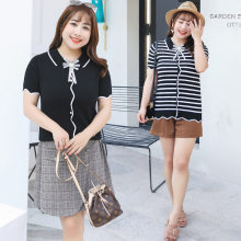 2019 Summer New Products Large Size Dress Sweet Sweater Fashion Striped Shirt Korean-style Fat Mm Dress on Behalf of M024(China)