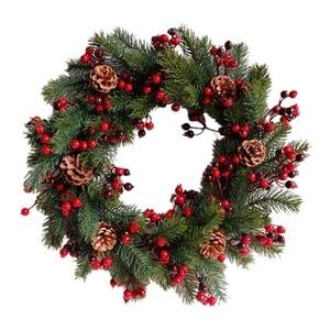 Image 1 - Декорированный искусственный Рождественский венок, зеленые ветви с сосновыми шишками, красные ягоды, внутреннее/наружное Рождественское украшение 45 см