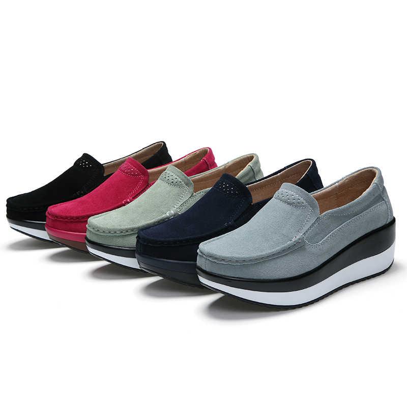Wanita Flat Sepatu Platform Heels Pantofel SLIP ON Wanita Sepatu Wanita Kulit Suede Sneaker Wanita Creepers Sepatu Musim Semi 2019