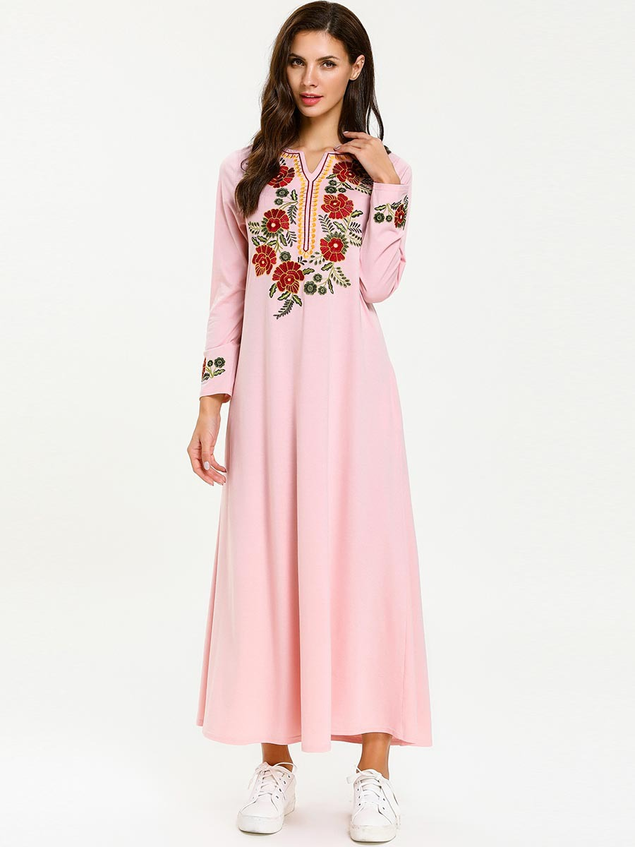 <font><b>7670</b></font> Large Size Dress-Style New Style Long Sleeve Nation Rust Flowers Muslim Pink Long Skirts image