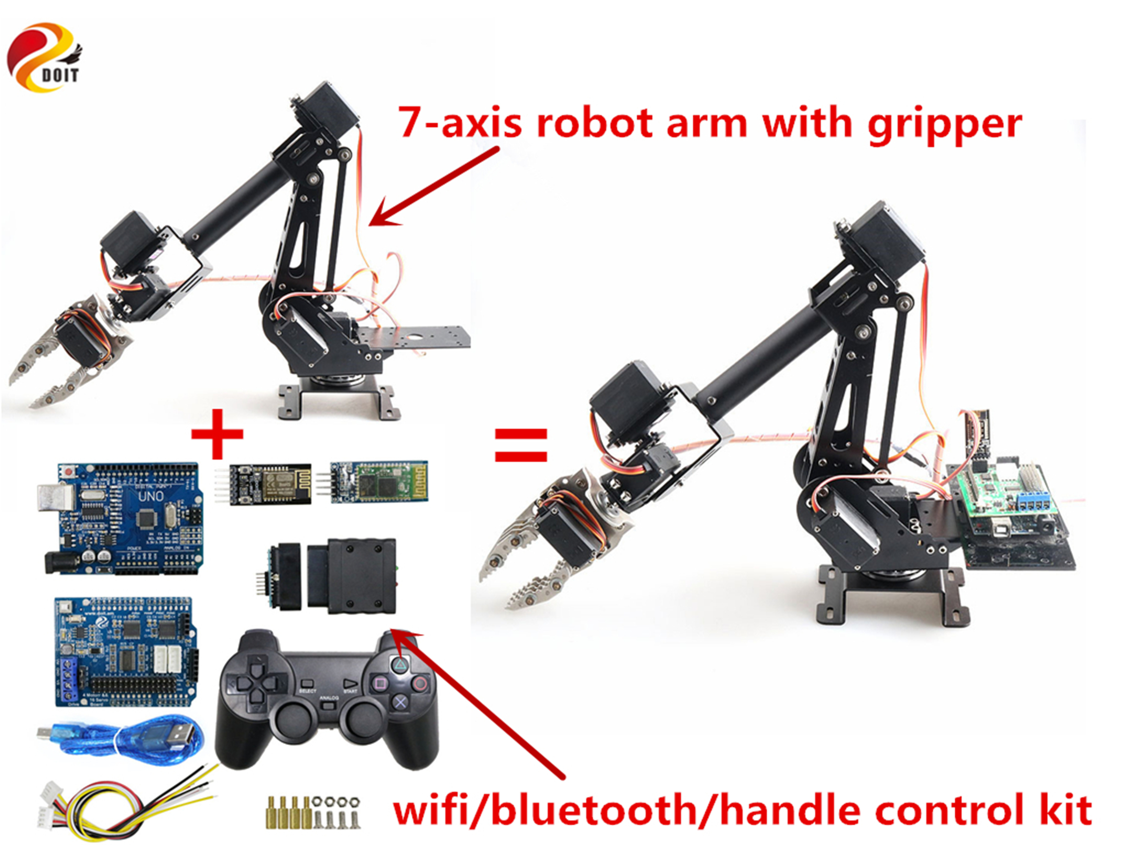 SZDOIT WIFI/Handle/Bluetooth Control 7DOF Metal Robot Arm with Gripper Kit RC Robotic with 7pcs MG996R Servos DIY for Android